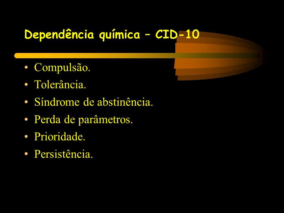 Dependência química – CID-10 •Compulsão. •Tolerância. •Síndrome de abstinência. •Perda de parâmetros. •Prioridade. • Persistência.