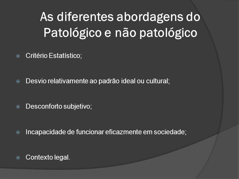 As diferentes abordagens do Patológico e não patológico  Critério Estatístico;  Desvio relativamente ao padrão ideal ou cultural;  Desconforto subj