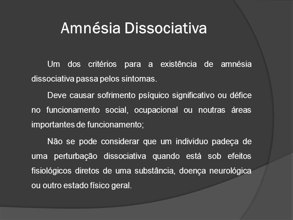 Um dos critérios para a existência de amnésia dissociativa passa pelos sintomas. Deve causar sofrimento psíquico significativo ou défice no funcioname