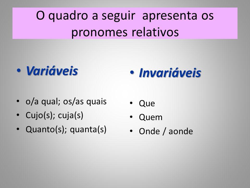 O quadro a seguir apresenta os pronomes relativos • Variáveis • o/a qual; os/as quais • Cujo(s); cuja(s) • Quanto(s); quanta(s) • Invariáveis • Que • Quem • Onde / aonde