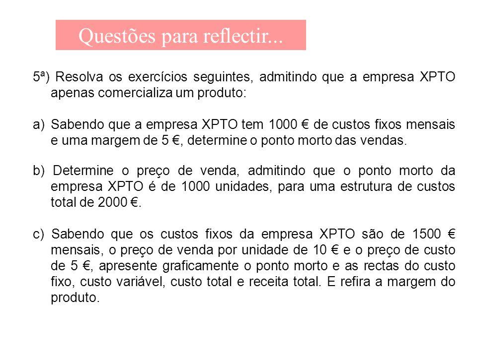 Questões para reflectir... 5ª) Resolva os exercícios seguintes, admitindo que a empresa XPTO apenas comercializa um produto: a)Sabendo que a empresa X