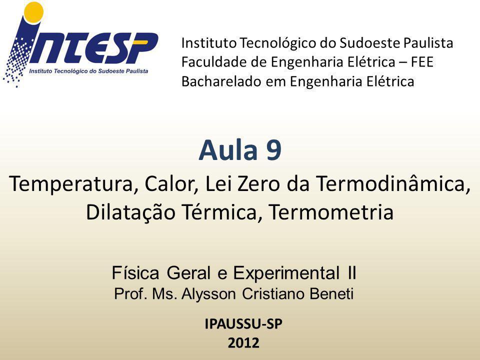 Física Geral e Experimental II Prof. Ms. Alysson Cristiano Beneti Instituto Tecnológico do Sudoeste Paulista Faculdade de Engenharia Elétrica – FEE Ba