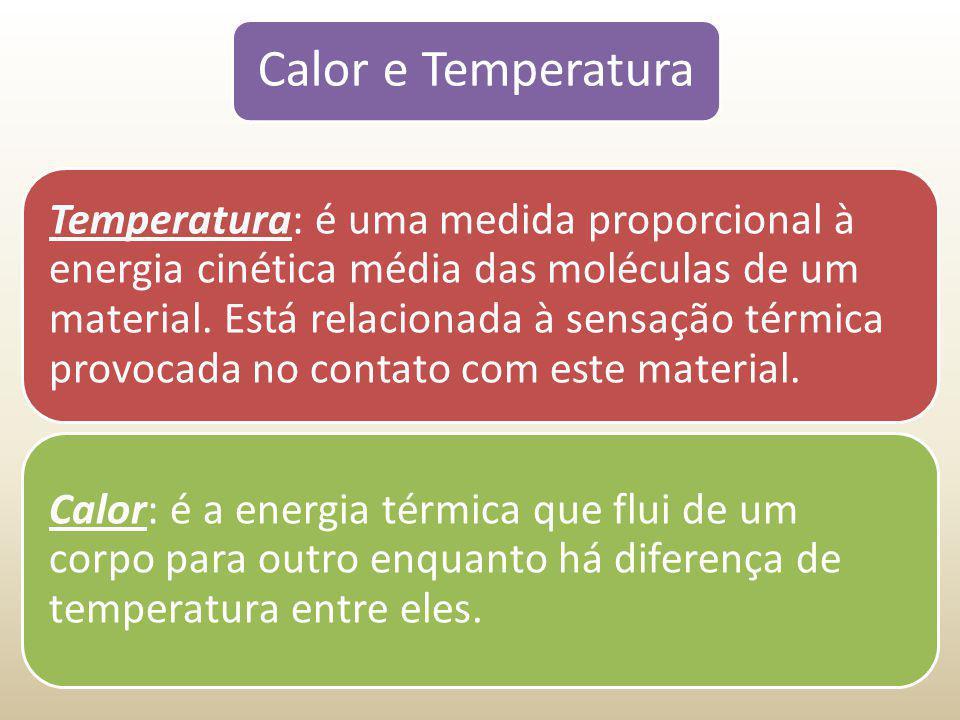 Calor e Temperatura Temperatura: é uma medida proporcional à energia cinética média das moléculas de um material. Está relacionada à sensação térmica