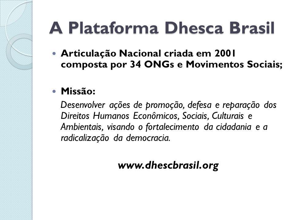 A Plataforma Dhesca Brasil  Articulação Nacional criada em 2001 composta por 34 ONGs e Movimentos Sociais;  Missão: Desenvolver ações de promoção, defesa e reparação dos Direitos Humanos Econômicos, Sociais, Culturais e Ambientais, visando o fortalecimento da cidadania e a radicalização da democracia.