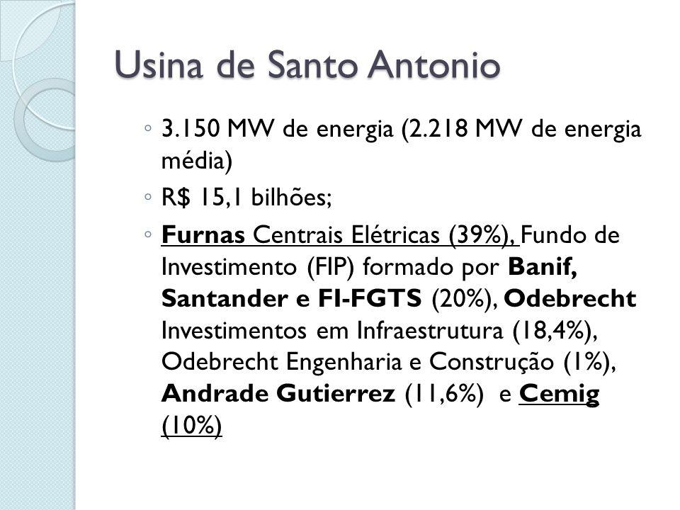 Usina de Jirau  3.300 MW de energia (1.975 MW de energia média)  R$ 13,5 bilhões  GDF Suez (50,1%), Eletrosul (20%), Chesf (20%), Camargo Correa Investimento em Infraestrutura (9,9%).