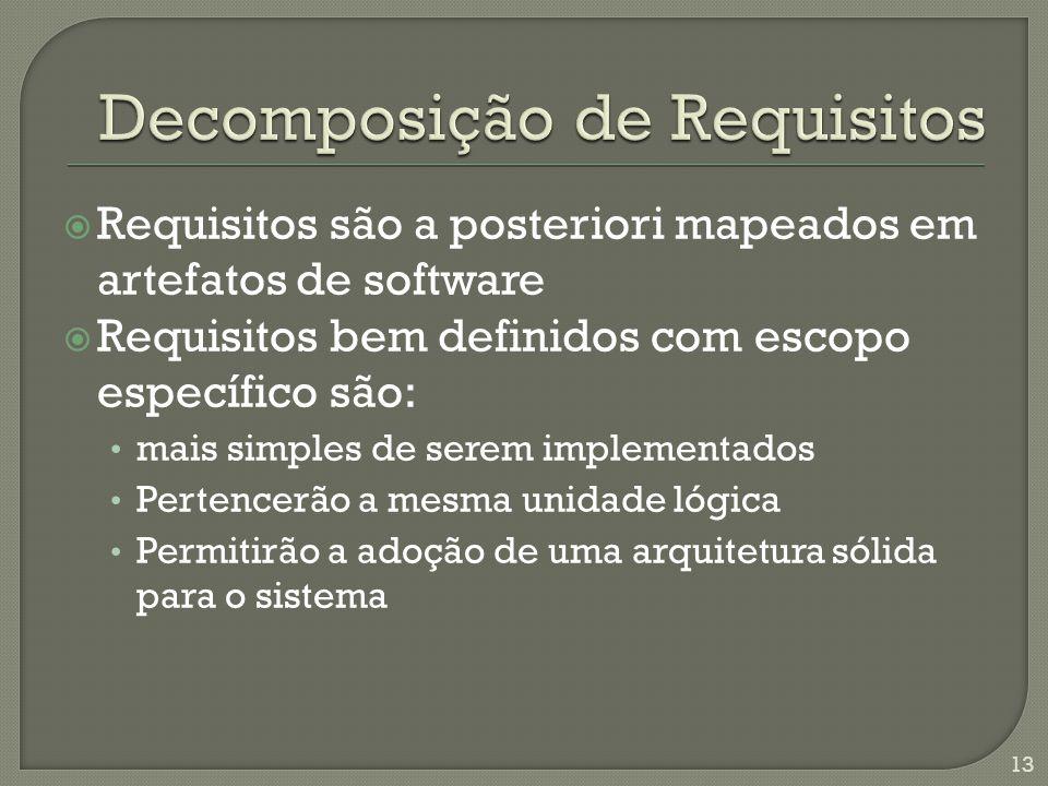  Requisitos são a posteriori mapeados em artefatos de software  Requisitos bem definidos com escopo específico são: • mais simples de serem implementados • Pertencerão a mesma unidade lógica • Permitirão a adoção de uma arquitetura sólida para o sistema 13