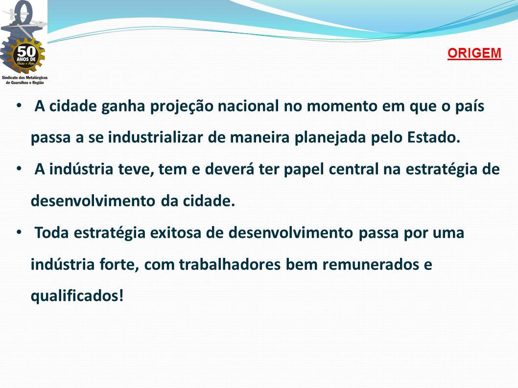 • A cidade ganha projeção nacional no momento em que o país passa a se industrializar de maneira planejada pelo Estado.
