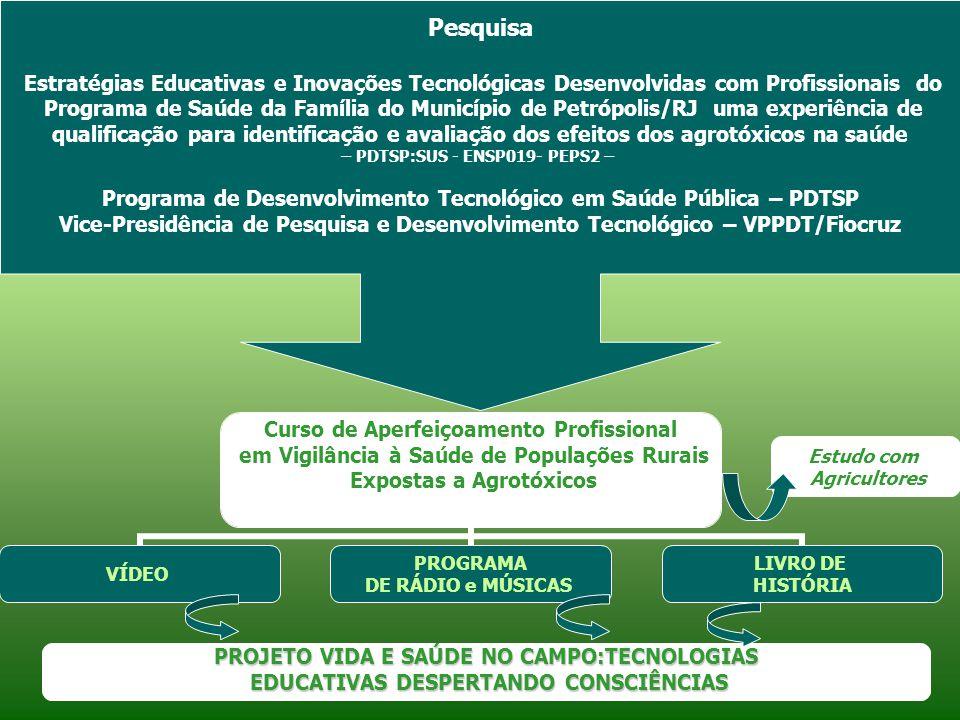 GUIA DE ORIENTAÇÃO DOS PRODUTOS FOLHETO DE APRESENTAÇÃO DO PROJETO DVD DE APRESENTAÇÃO E DIVULGAÇÃO DO PROJETO SITE PROJETO VIDA E SAÚDE NO CAMPO: TECNOLOGIAS DESPERTANDO CONSCIÊNCIAS Vídeo Agrotóxicos: diferentes olhares PRODUTOS Programa de rádio Trabalho Agrícola e Saúde: ouvindo diferentes saberes Livro de história Caminho do Despertar...