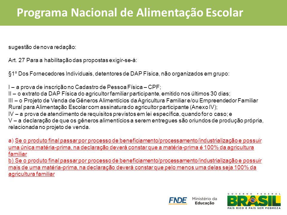 PAA Compra Institucional Programa Nacional de Alimentação Escolar sugestão de nova redação: Art. 27 Para a habilitação das propostas exigir-se-á: §1º