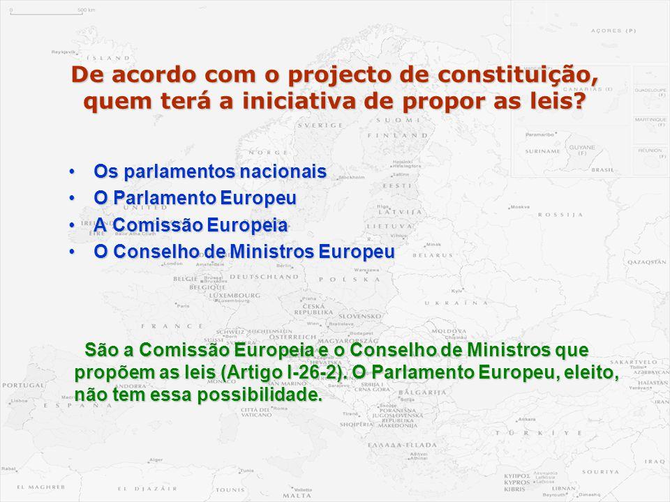 De acordo com o projecto de constituição, quem terá a iniciativa de propor as leis? •Os parlamentos nacionais •O Parlamento Europeu •A Comissão Europe
