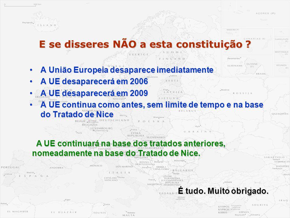 E se disseres NÃO a esta constituição ? •A União Europeia desaparece imediatamente •A UE desaparecerá em 2006 •A UE desaparecerá em 2009 •A UE continu