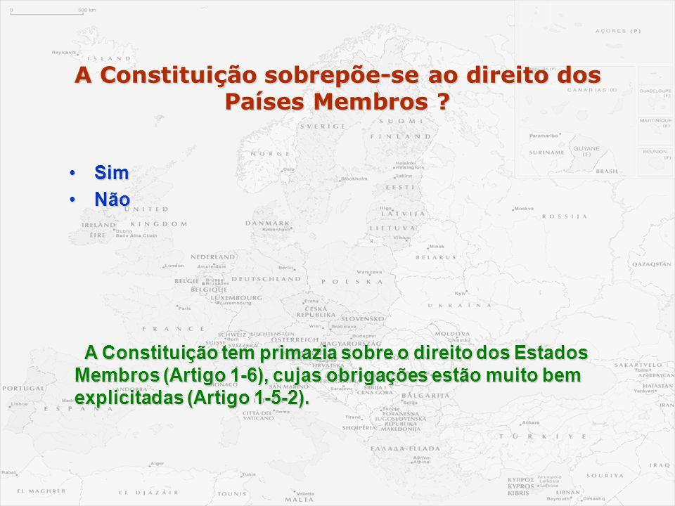 A Constituição sobrepõe-se ao direito dos Países Membros ? •Sim •Não A Constituição tem primazia sobre o direito dos Estados Membros (Artigo 1-6), cuj