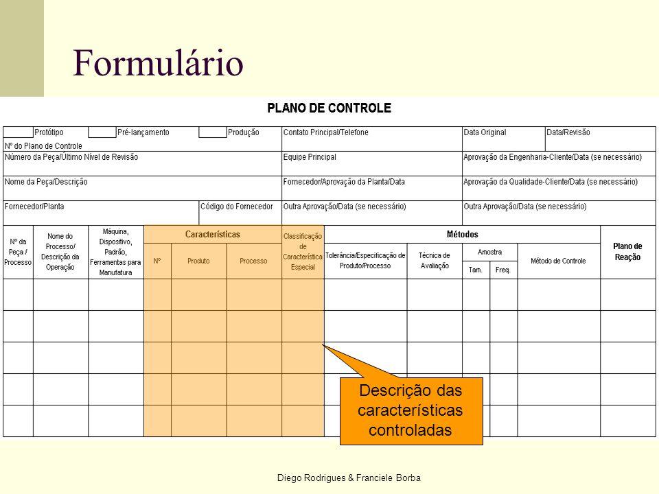 Diego Rodrigues & Franciele Borba Formulário Descrição das características controladas