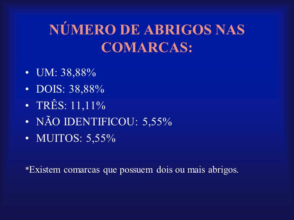 NÚMERO DE ABRIGOS NAS COMARCAS: •UM: 38,88% •DOIS: 38,88% •TRÊS: 11,11% •NÃO IDENTIFICOU: 5,55% •MUITOS: 5,55% * Existem comarcas que possuem dois ou
