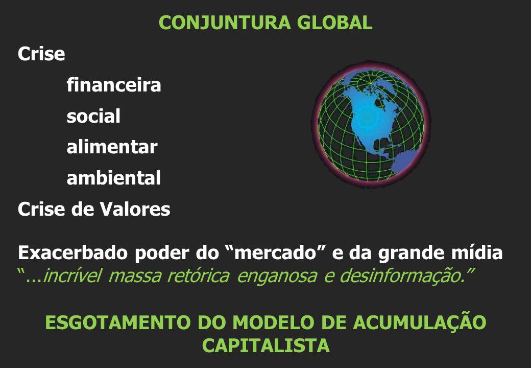 CONJUNTURA GLOBAL Crise financeira social alimentar ambiental Crise de Valores Exacerbado poder do mercado e da grande mídia ...incrível massa retórica enganosa e desinformação. ESGOTAMENTO DO MODELO DE ACUMULAÇÃO CAPITALISTA