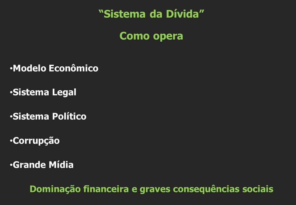 Sistema da Dívida Como opera • Modelo Econômico • Sistema Legal • Sistema Político • Corrupção • Grande Mídia Dominação financeira e graves consequências sociais