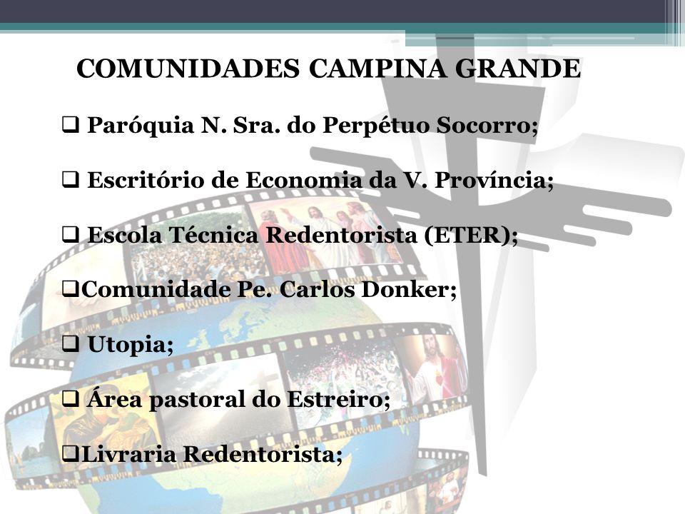 COMUNIDADES CAMPINA GRANDE  Paróquia N. Sra. do Perpétuo Socorro;  Escritório de Economia da V. Província;  Escola Técnica Redentorista (ETER);  C