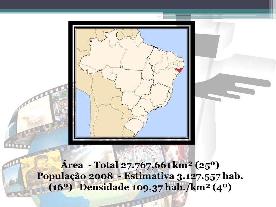 Área - Total 27.767,661 km² (25º) População 2008 - Estimativa 3.127.557 hab. (16º) Densidade 109,37 hab./km² (4º)