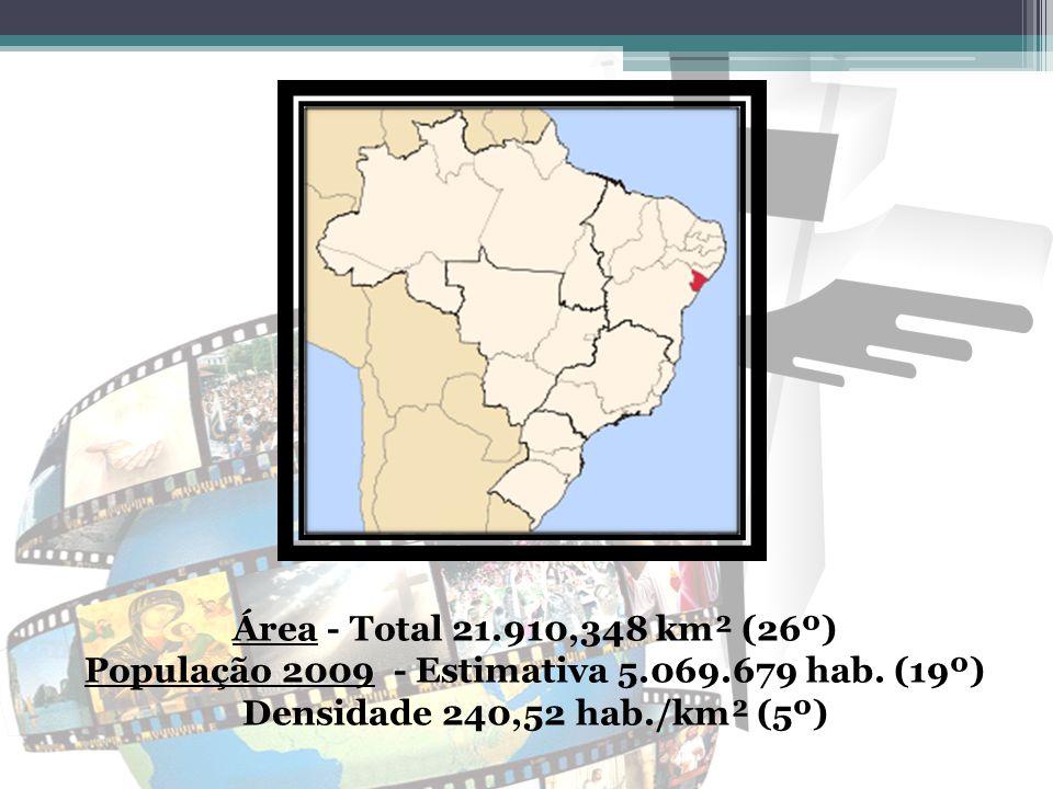 Área - Total 21.910,348 km² (26º) População 2009 - Estimativa 5.069.679 hab. (19º) Densidade 240,52 hab./km² (5º)