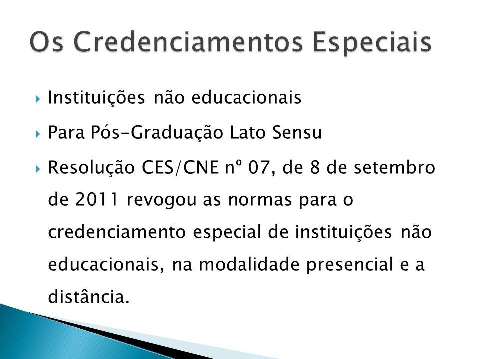  Instituições não educacionais  Para Pós-Graduação Lato Sensu  Resolução CES/CNE nº 07, de 8 de setembro de 2011 revogou as normas para o credencia