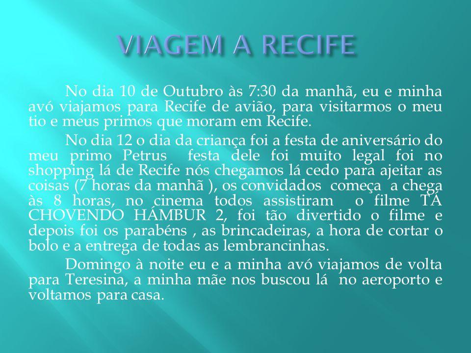 No dia 10 de Outubro às 7:30 da manhã, eu e minha avó viajamos para Recife de avião, para visitarmos o meu tio e meus primos que moram em Recife. No d