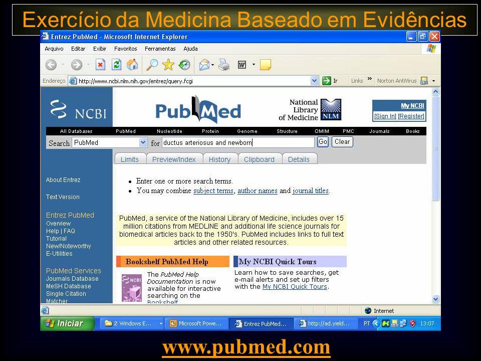 Exercício da Medicina Baseado em Evidências www.pubmed.com