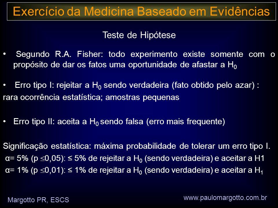 Exercício da Medicina Baseado em Evidências Margotto PR, ESCS www.paulomargotto.com.br Teste de Hipótese • Segundo R.A.