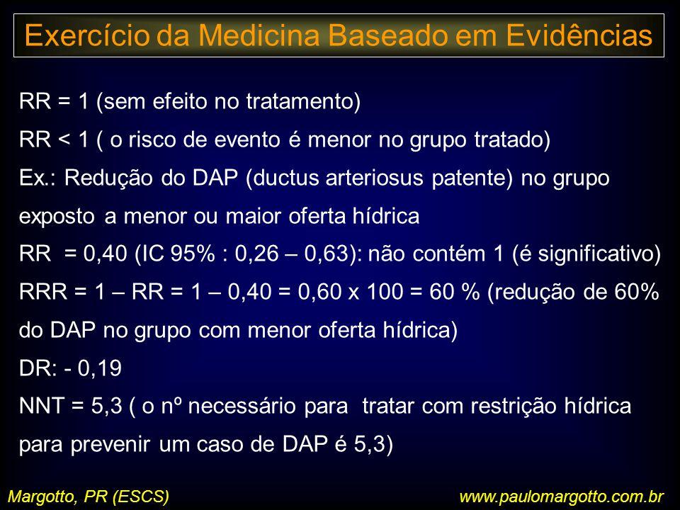 Margotto, PR (ESCS)www.paulomargotto.com.br RR = 1 (sem efeito no tratamento) RR < 1 ( o risco de evento é menor no grupo tratado) Ex.: Redução do DAP (ductus arteriosus patente) no grupo exposto a menor ou maior oferta hídrica RR = 0,40 (IC 95% : 0,26 – 0,63): não contém 1 (é significativo) RRR = 1 – RR = 1 – 0,40 = 0,60 x 100 = 60 % (redução de 60% do DAP no grupo com menor oferta hídrica) DR: - 0,19 NNT = 5,3 ( o nº necessário para tratar com restrição hídrica para prevenir um caso de DAP é 5,3) Exercício da Medicina Baseado em Evidências