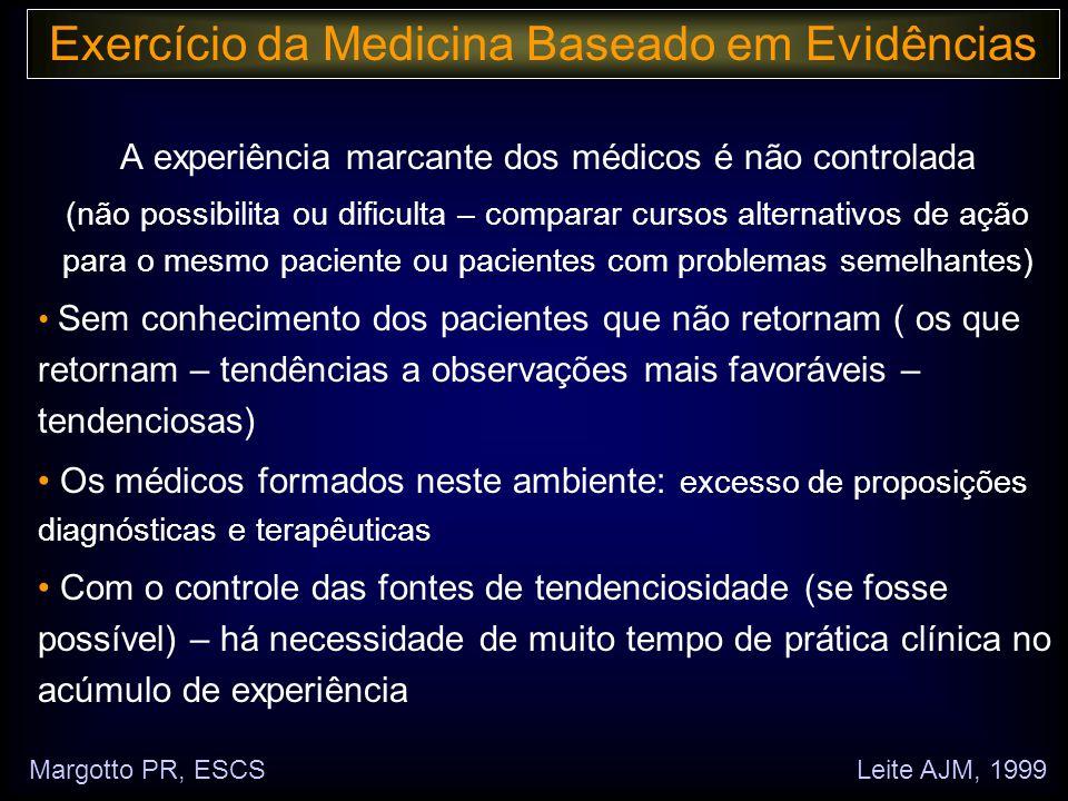 Margotto, PR (ESCS)www.paulomargotto.com.br Hemorragia peri/intraventricular (HP/HIV): grupo com menor x maior oferta hídrica: RR = 0,94 (IC a 95% : 0,52 – 1,72) RRR = 1 – 0,94 = 0,06 x100 = 6% DR = - 0,011 NNT = 90,9 Interpretação: - A ingesta hídrica não afetou a incidência de HP/HIV (no intervalo de confiança do RR contém o 1, que quando presente significa nulidade da associação) - A restrição hídrica diminui a HP/HIV (não significativo) - É necessário restringir líquido em 90,9 RN para evitar a ocorrência de 1 caso de HP/HIV Quanto melhor o tratamento, menor o NNT Exercício da Medicina Baseado em Evidências