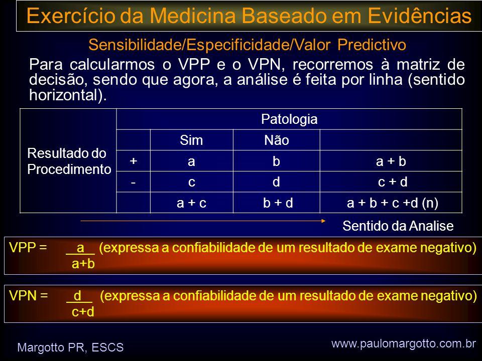 Exercício da Medicina Baseado em Evidências Sensibilidade/Especificidade/Valor Predictivo Para calcularmos o VPP e o VPN, recorremos à matriz de decisão, sendo que agora, a análise é feita por linha (sentido horizontal).