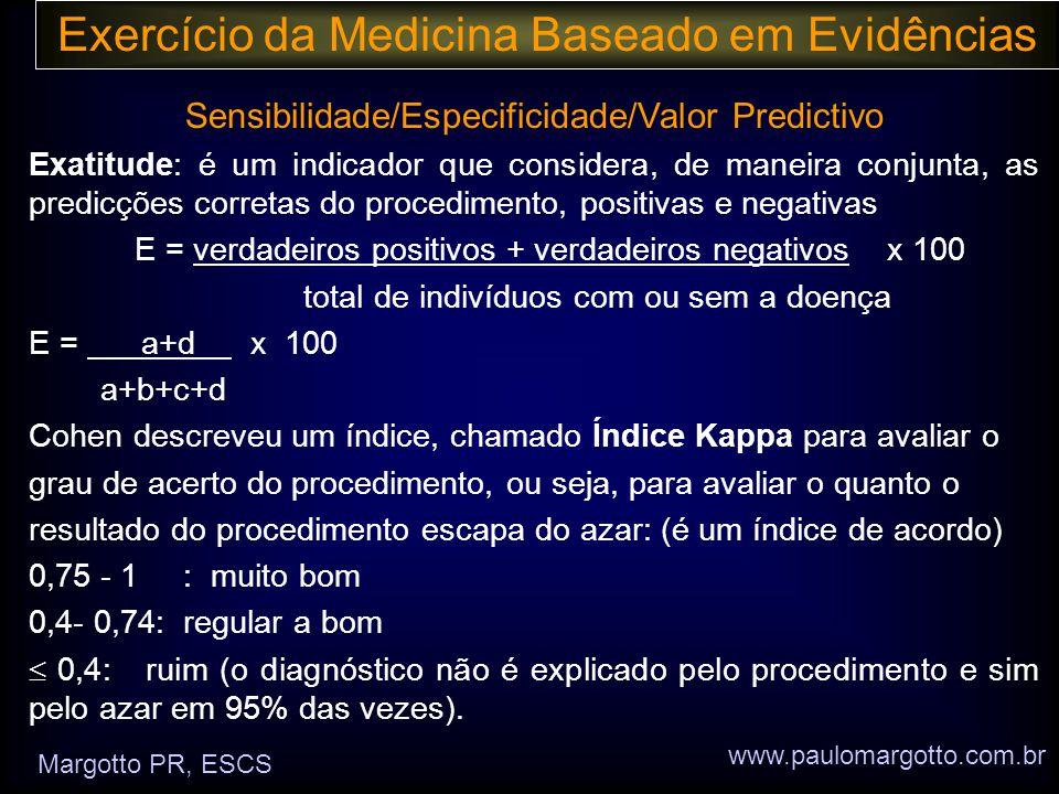 Exercício da Medicina Baseado em Evidências Sensibilidade/Especificidade/Valor Predictivo Exatitude: é um indicador que considera, de maneira conjunta, as predicções corretas do procedimento, positivas e negativas E = verdadeiros positivos + verdadeiros negativos x 100 total de indivíduos com ou sem a doença E = a+d x 100 a+b+c+d Cohen descreveu um índice, chamado Índice Kappa para avaliar o grau de acerto do procedimento, ou seja, para avaliar o quanto o resultado do procedimento escapa do azar: (é um índice de acordo) 0,75 - 1 : muito bom 0,4- 0,74: regular a bom  0,4: ruim (o diagnóstico não é explicado pelo procedimento e sim pelo azar em 95% das vezes).