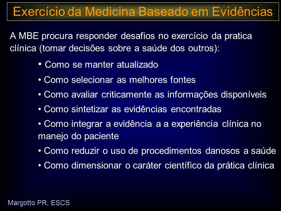 No exercício da prática clínica exige cada vez mais: Exercício da Medicina Baseado em Evidências Margotto PR, ESCS Conhecimento da experiência clínica Capacidade de avaliar criticamente as melhores evidências disponíveis da pesquisa clínica