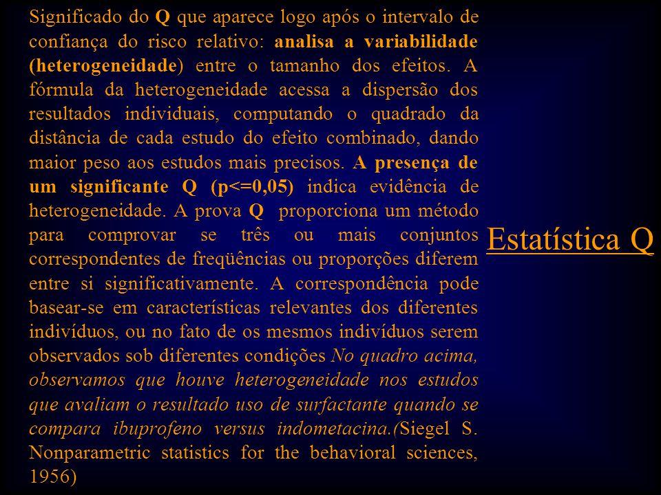 Significado do Q que aparece logo após o intervalo de confiança do risco relativo: analisa a variabilidade (heterogeneidade) entre o tamanho dos efeitos.