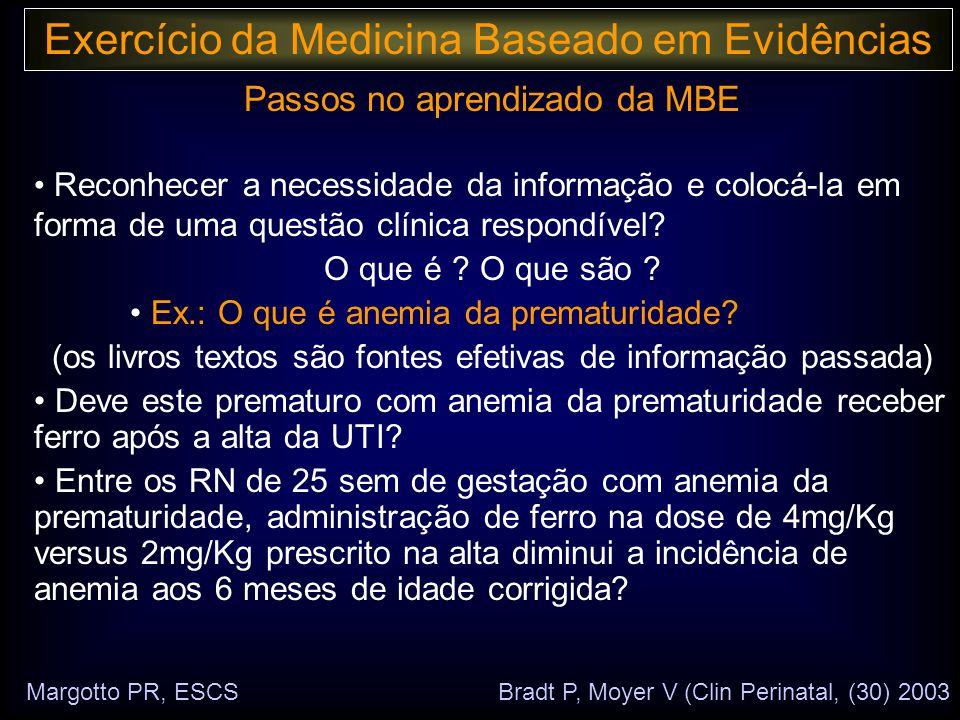 Passos no aprendizado da MBE • Reconhecer a necessidade da informação e colocá-la em forma de uma questão clínica respondível.