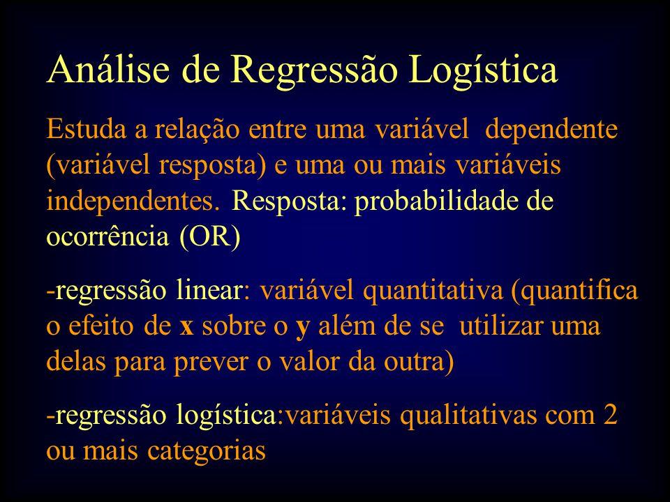 Análise de Regressão Logística Estuda a relação entre uma variável dependente (variável resposta) e uma ou mais variáveis independentes.