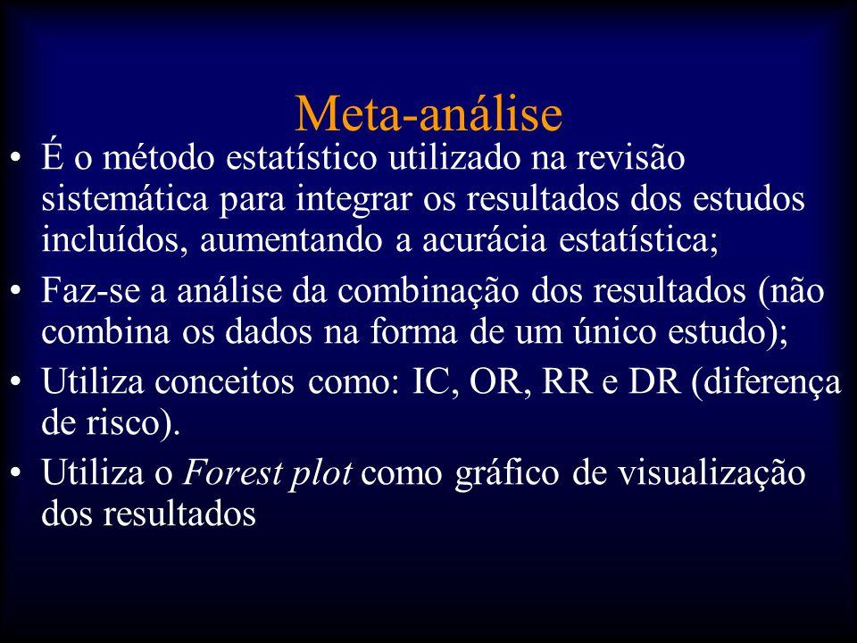 Meta-análise •É o método estatístico utilizado na revisão sistemática para integrar os resultados dos estudos incluídos, aumentando a acurácia estatística; •Faz-se a análise da combinação dos resultados (não combina os dados na forma de um único estudo); •Utiliza conceitos como: IC, OR, RR e DR (diferença de risco).