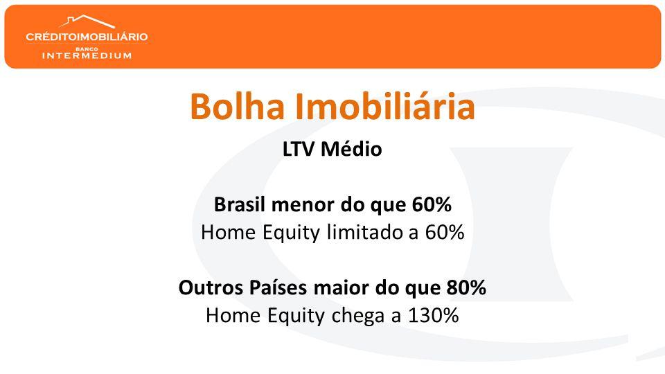 LTV Médio Brasil menor do que 60% Home Equity limitado a 60% Outros Países maior do que 80% Home Equity chega a 130% Bolha Imobiliária