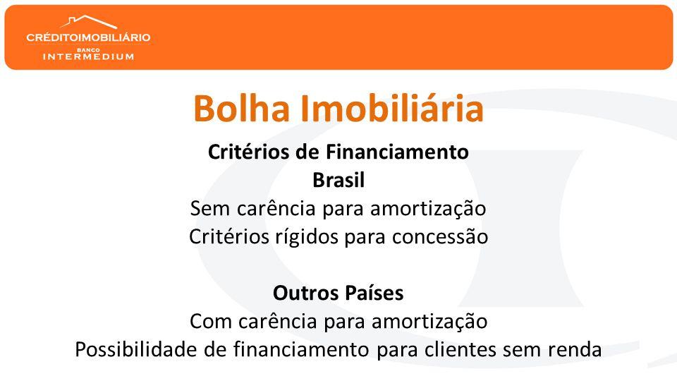 Alta dos preços dos imóveis BrasilOutros Países Valorização acima do crescimento da renda Déficit habitacional X Movimento Especulativo Baixo desemprego X Taxas altas de desemprego Dispersão geográfica.