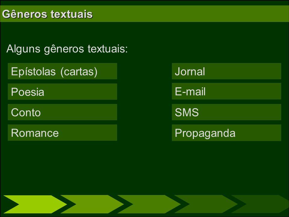 Gêneros textuais Alguns gêneros textuais: Epístolas (cartas) Poesia Conto Romance Jornal E-mail SMS Propaganda