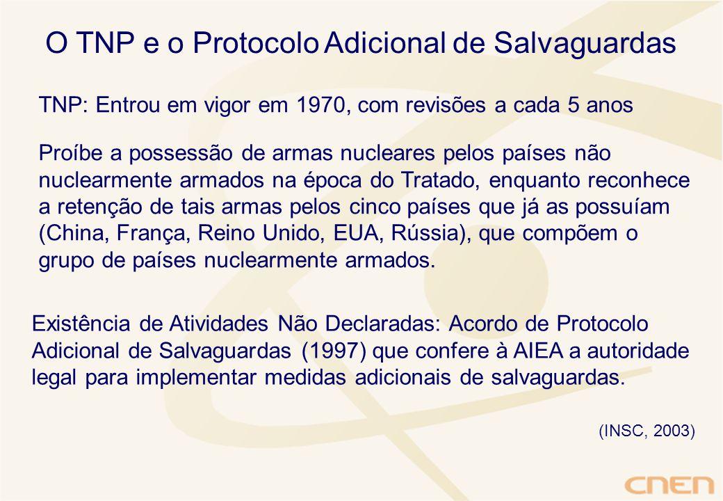 O TNP e o Protocolo Adicional de Salvaguardas TNP: Entrou em vigor em 1970, com revisões a cada 5 anos Proíbe a possessão de armas nucleares pelos países não nuclearmente armados na época do Tratado, enquanto reconhece a retenção de tais armas pelos cinco países que já as possuíam (China, França, Reino Unido, EUA, Rússia), que compõem o grupo de países nuclearmente armados.