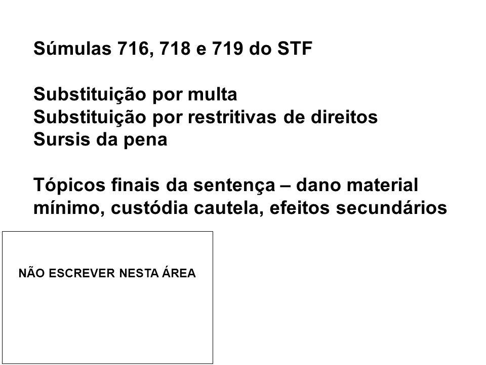 Súmulas 716, 718 e 719 do STF Substituição por multa Substituição por restritivas de direitos Sursis da pena Tópicos finais da sentença – dano materia