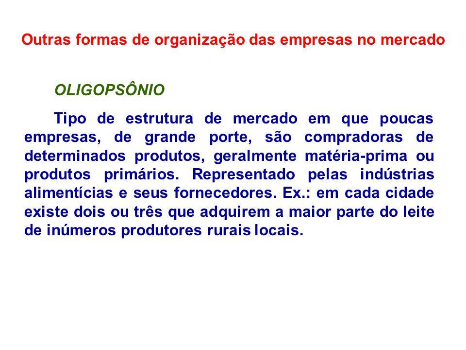 Outras formas de organização das empresas no mercado OLIGOPSÔNIO Tipo de estrutura de mercado em que poucas empresas, de grande porte, são compradoras