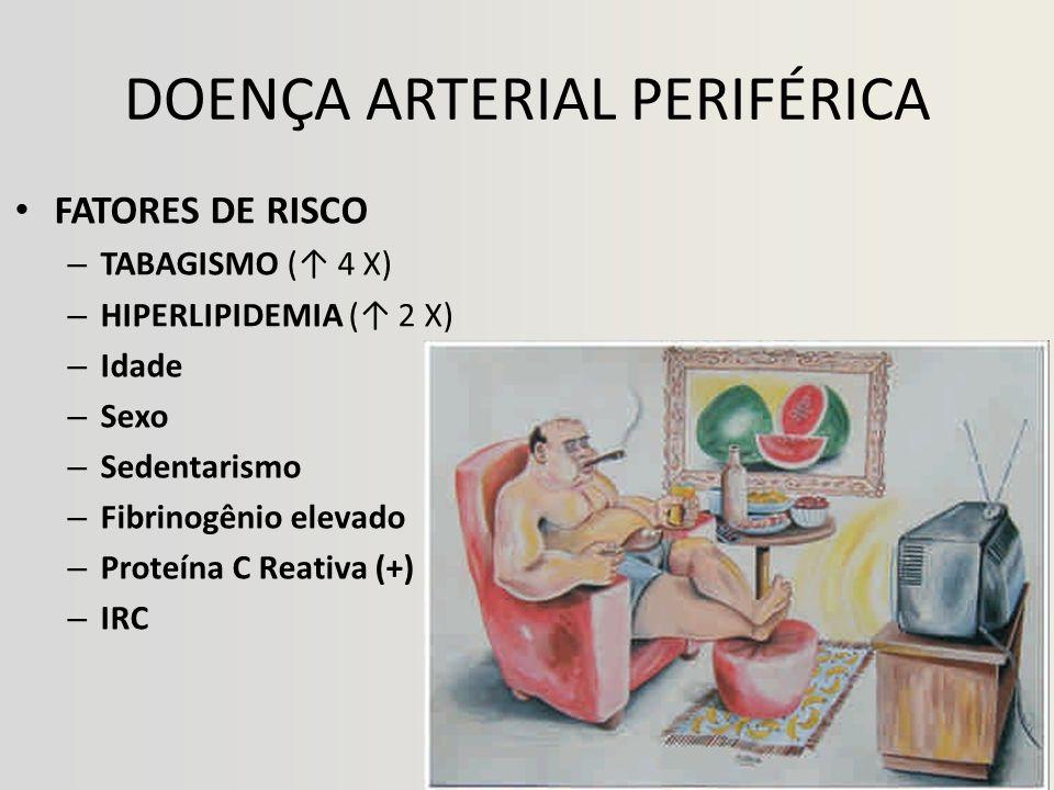 DOENÇA ARTERIAL PERIFÉRICA • FATORES DE RISCO – TABAGISMO (↑ 4 X) – HIPERLIPIDEMIA (↑ 2 X) – Idade – Sexo – Sedentarismo – Fibrinogênio elevado – Proteína C Reativa (+) – IRC