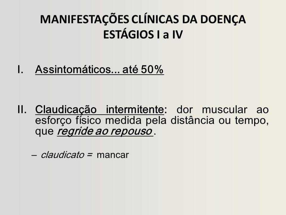 MANIFESTAÇÕES CLÍNICAS DA DOENÇA ESTÁGIOS I a IV I.Assintomáticos...