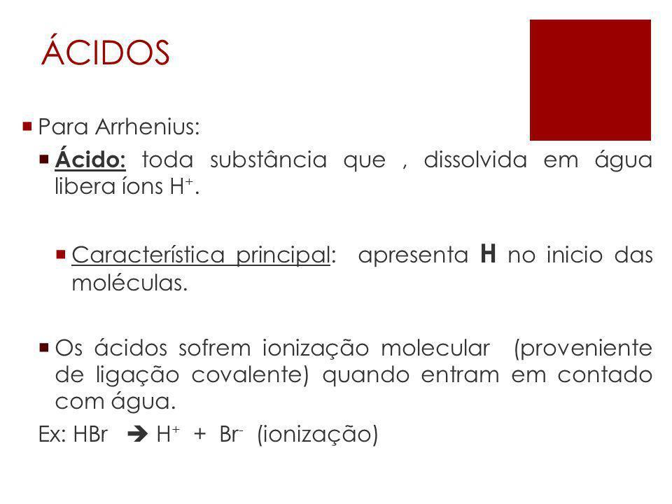 Classificação  Quanto ao número de hidrogênios ionizáveis:  Monoácidos: 1 H  Diácidos: 2 H  Triácidos: 3 H  Tetrácidos / Poliácidos: 4 ou mais H.