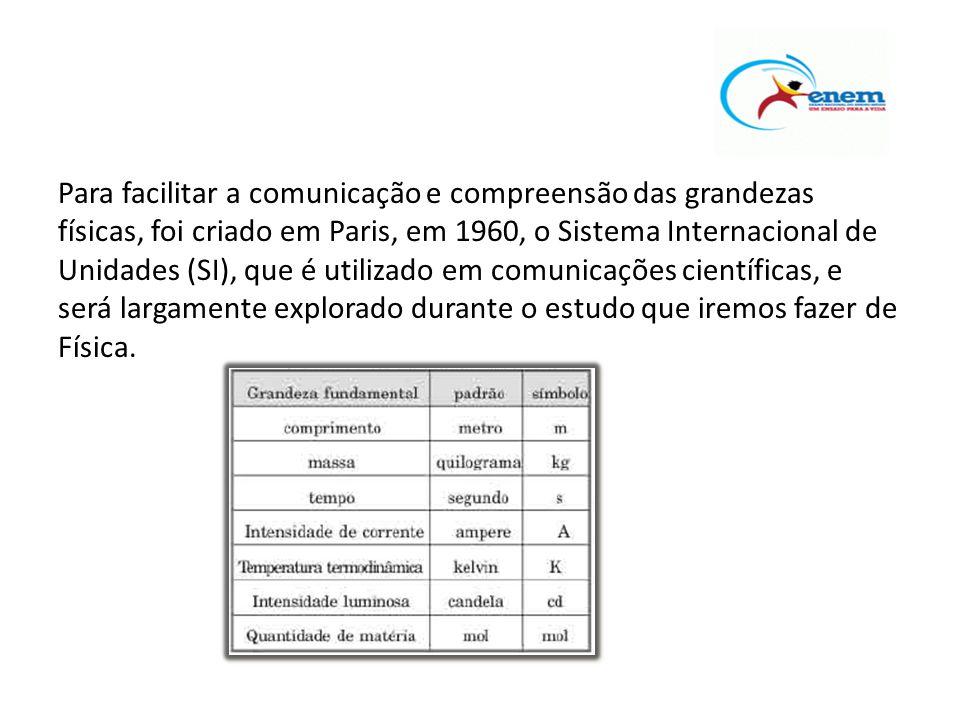 Para facilitar a comunicação e compreensão das grandezas físicas, foi criado em Paris, em 1960, o Sistema Internacional de Unidades (SI), que é utiliz