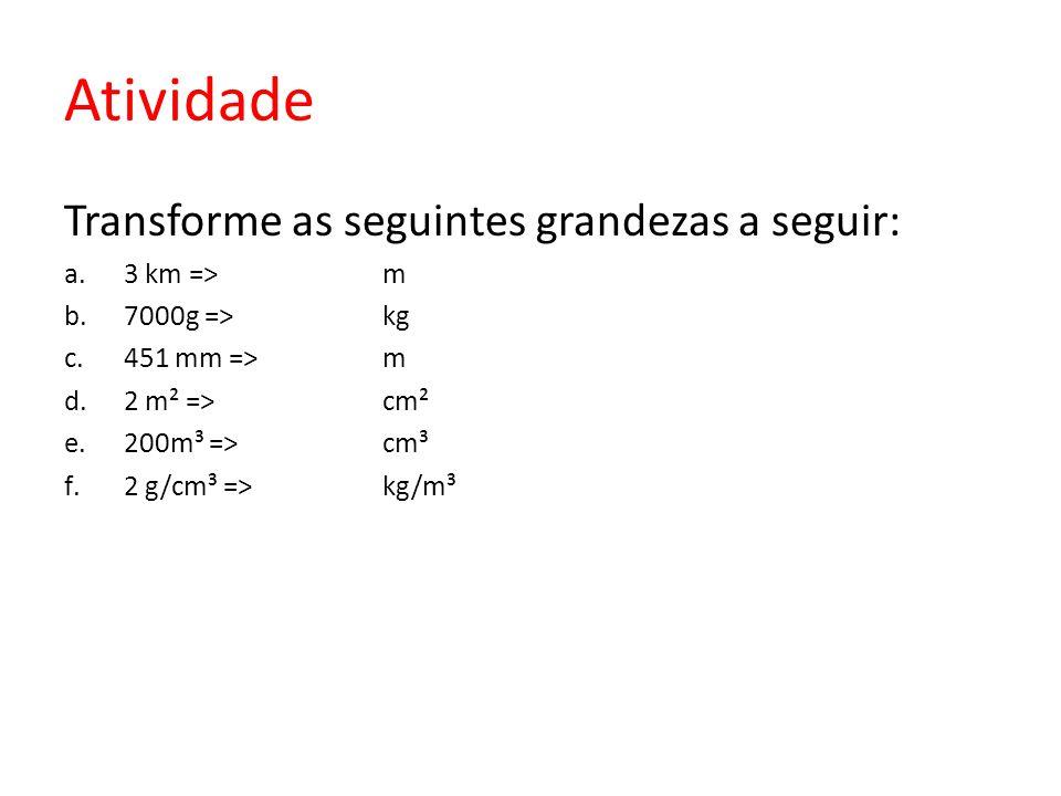 Atividade Transforme as seguintes grandezas a seguir: a.3 km =>m b.7000g =>kg c.451 mm =>m d.2 m² =>cm² e.200m³ =>cm³ f.2 g/cm³ =>kg/m³