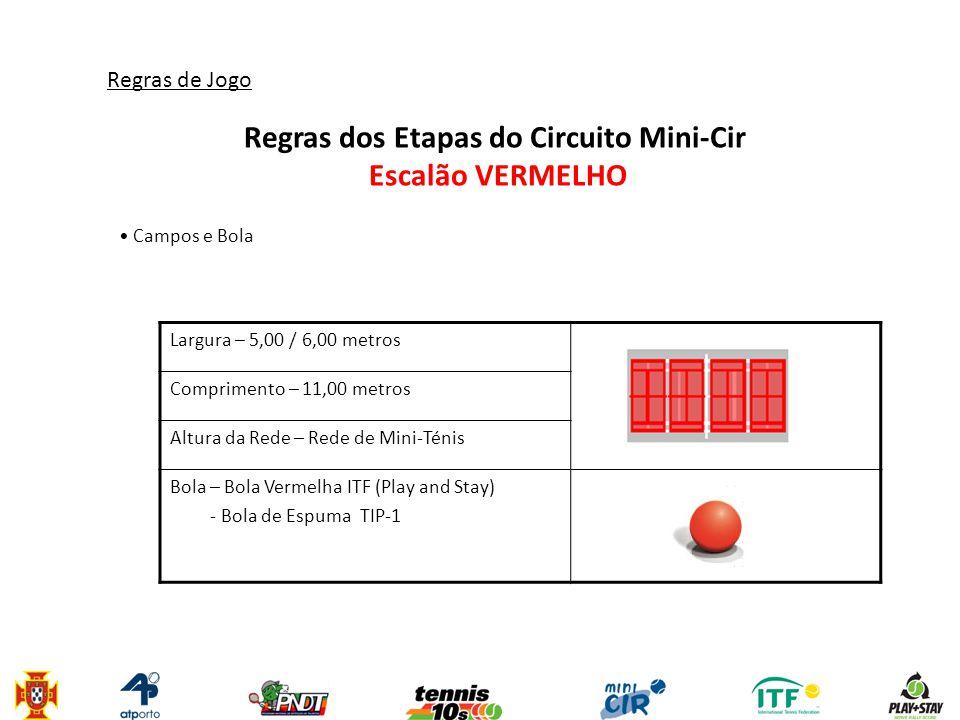Regras dos Etapas do Circuito Mini-Cir Escalão VERMELHO 1.Para jogadores que completam até 7 anos a 31 de Dezembro do ano em curso, nascidos em 2004, 2005 e 2006 2.Jogadores que vençam 2 etapas neste escalão têm obrigatoriamente que transitar para o escalão seguinte (Laranja).