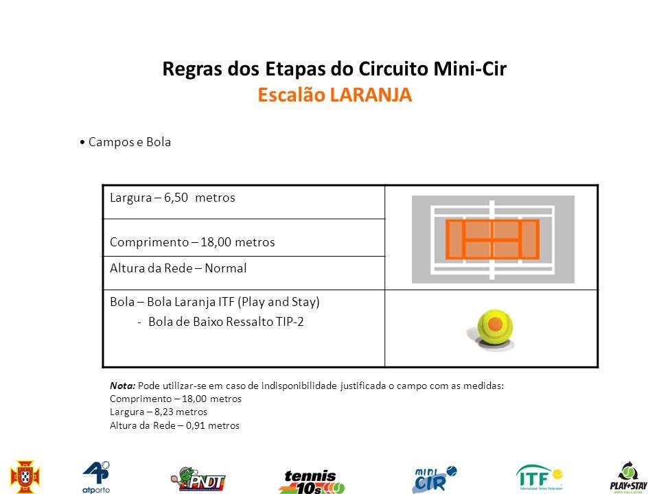 Regras dos Etapas do Circuito Mini-Cir Escalão LARANJA • Campos e Bola Largura – 6,50 metros Comprimento – 18,00 metros Altura da Rede – Normal Bola –