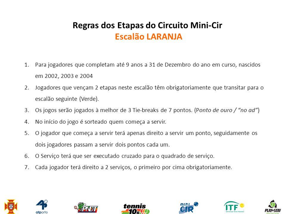 Regras dos Etapas do Circuito Mini-Cir Escalão LARANJA 1.Para jogadores que completam até 9 anos a 31 de Dezembro do ano em curso, nascidos em 2002, 2